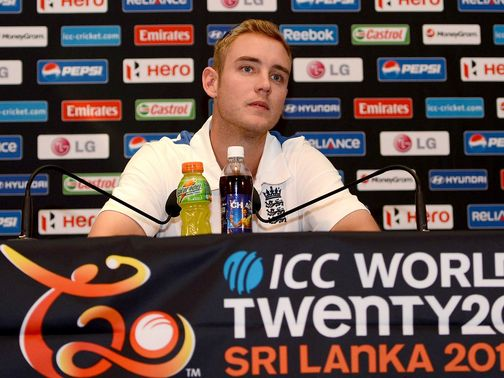 Stuart Broad speaks to the press on Friday