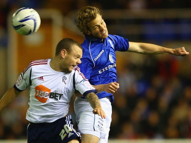 Jay Spearing and Jonathan Spector go for a high ball