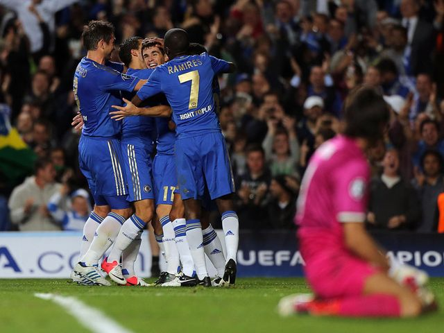 Chelsea celebrate after Oscar finds the net