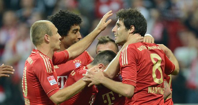Bayern Munich celebrate against Wolfsburg