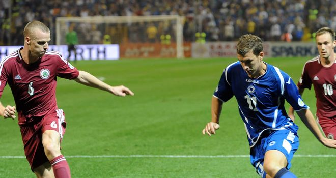 Edin Dzeko in action for Bosnia