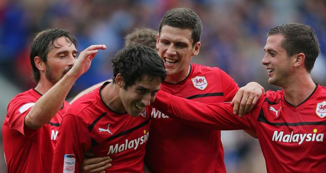 Peter Whittingham: Hat-trick hero mobbed by his Cardiff City team-mates