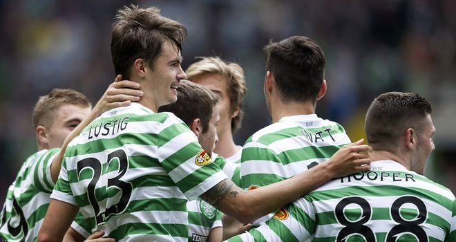 Lustig (l): Celebrates his opener for Celtic