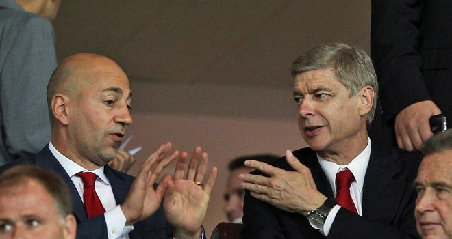 Arsene Wenger: The Arsenal boss sat with chief executive Ivan Gazidis
