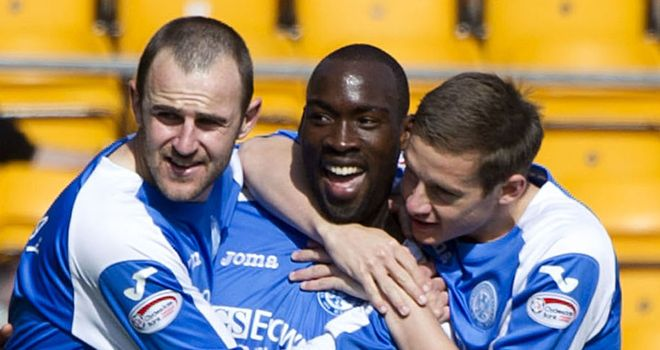 Gregory Tade, centre, scored six goals for St Johnstone last season