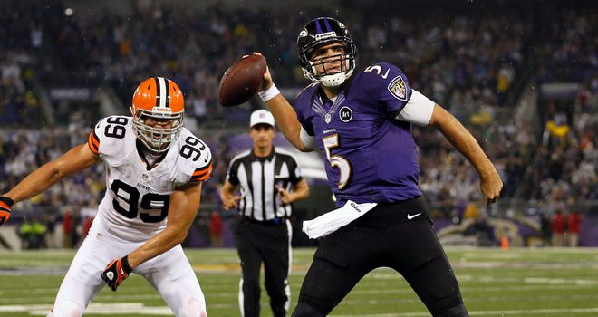 Joe Flacco: Ravens quarterback threw and rushed for a touchdown in Thursday's win over the Browns