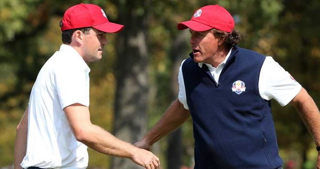 Keegan Bradley (left) and Phil Mickelson: brilliant display