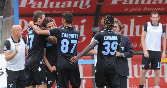 Lazio celebrate their third goal at Chievo