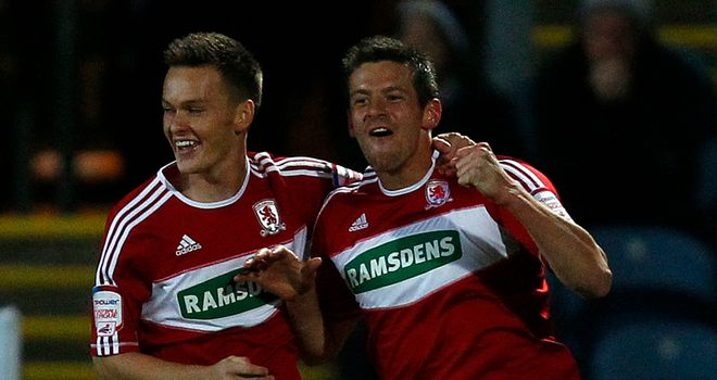Jutkiewicz (r): Celebrates one of his goals for Boro