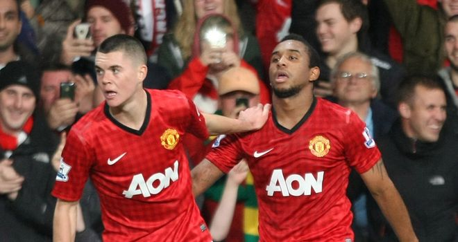 Anderson celebrates his first half goal for Manchester United