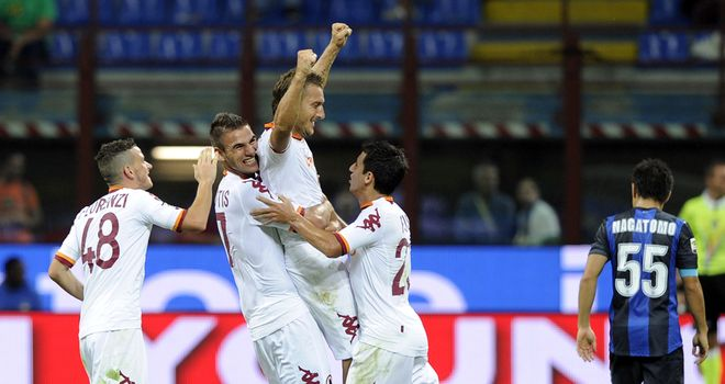 Roma celebrate against Inter Milan