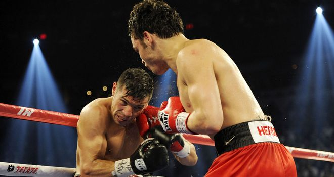 Fighter: Chavez Jr (left) almost secured a final round stoppage