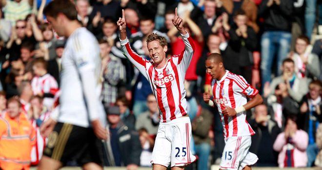 Peter Crouch: Scored both goals in Stoke's 2-0 home victory over Swansea