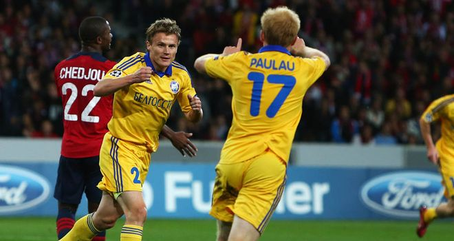 Vitali Rodionov celebrates his goal for BATE against Lille