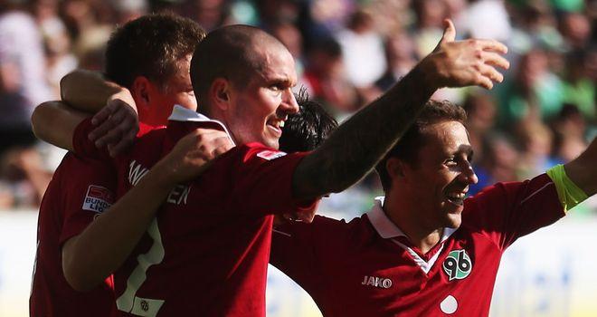 Hannover celebrate Artur Sobiech's goal