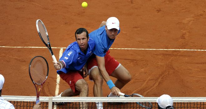 Radek Stepanek (left) and Tomas Berdych: Czech duo combined for doubles win