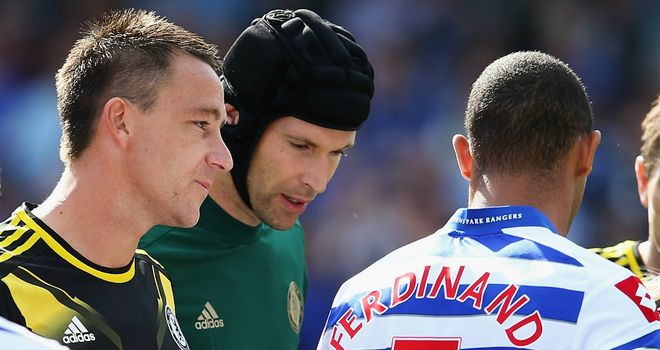 Anton Ferdinand snubs John Terry in the pre-match handshakes at Loftus Road