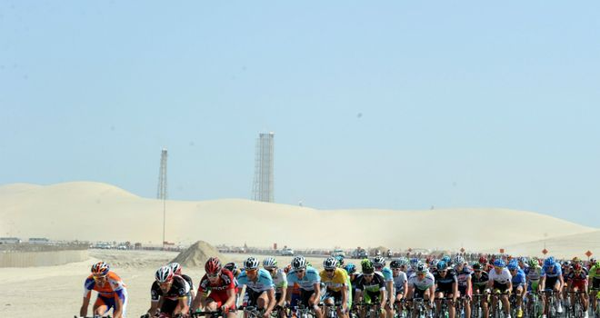 Desert scenery during stage six of the 2012 Tour of Qatar