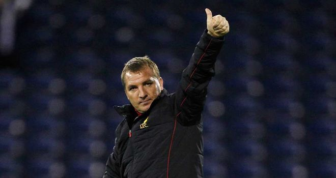 Brendan Rodgers gives the fans the thumbs up after the win over West Brom