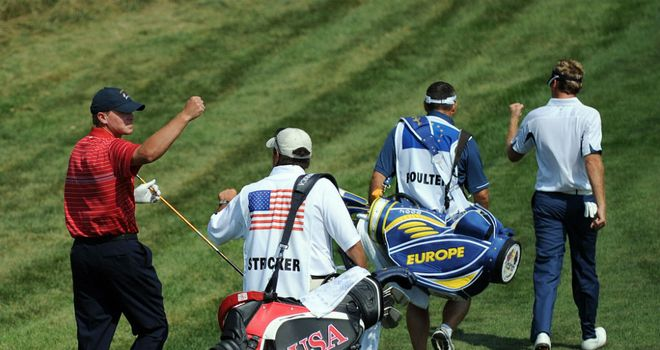 Steve Stricker (L) will be going all out to defeat Ian Poulter (R) should the two meet once again