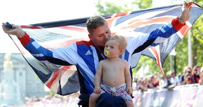 David Weir: Celebrates with his son Mason