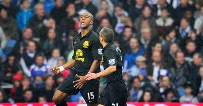 Distin: Celebrates Everton's equaliser
