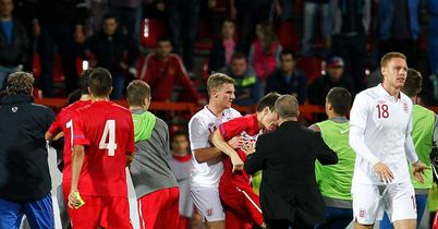 Serbia v England: Fracas at the end of the U-21 clash in Krusevac