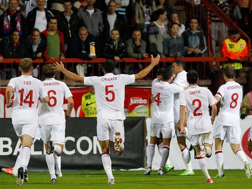 England Under-21s celebrate in Serbia