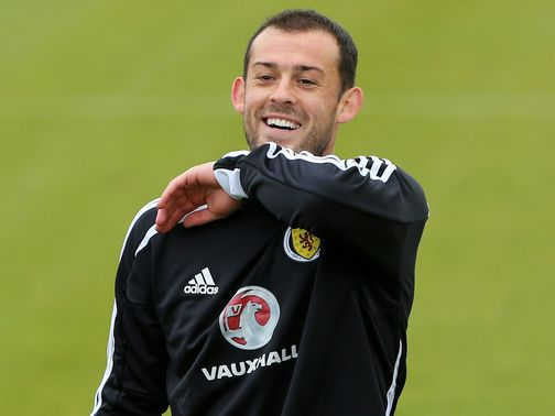 Steven Fletcher trains with Scotland on Monday.
