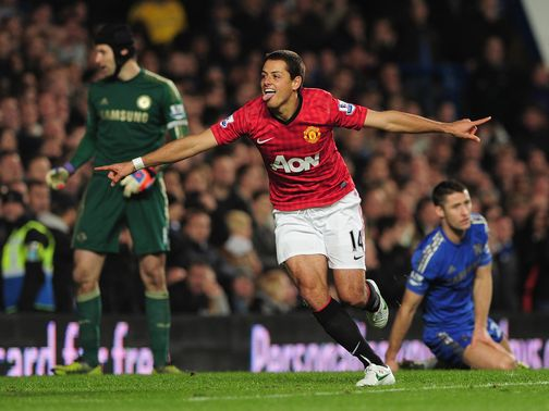 Javier Hernandez enjoys Manchester United's winner at Chelsea.