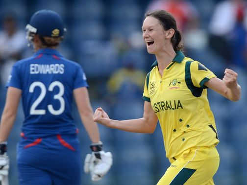 Julie Hunter celebrates a wicket