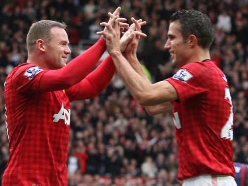Rooney (l): Impressed with colleague Van Persie