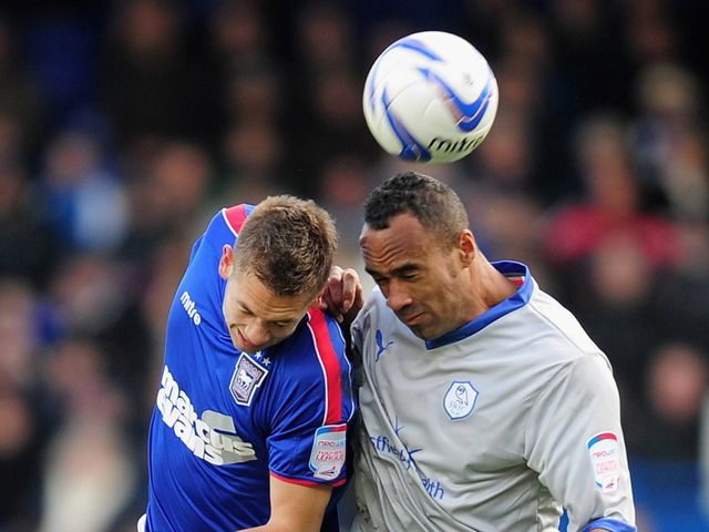 Luke Chambers (l): Gave Ipswich the lead