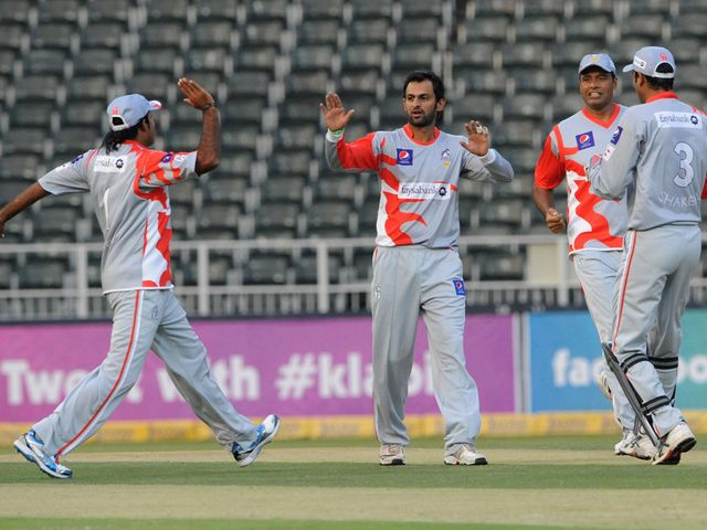 Sialkot celebrate the wicket of Michael Carberry