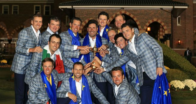 The European team celebrate with the Ryder Cup