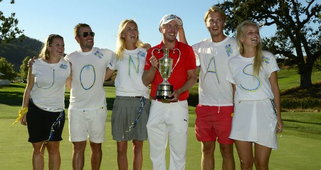 Jonas Blixt celebrates winning the Frys.com Open in California
