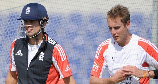 Alastair Cook (left): handing the England reins to his deputy Stuart Broad (right) for match against Mumbai A