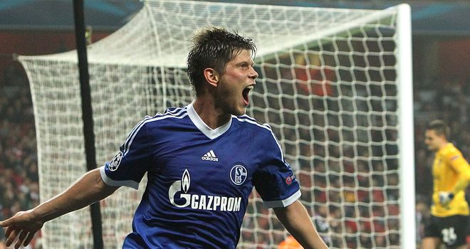 Klaas-Jan Huntelaar: Shalke striker celebrates opening goal
