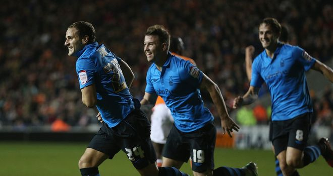 Billy Sharp: Celebrates Forest's opening goal at Blackpool