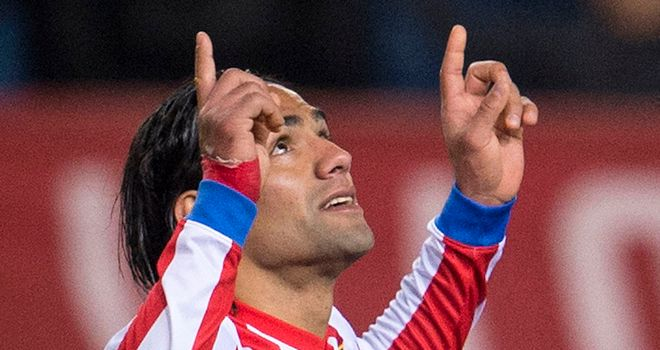Falcao celebrates his 17th goal in 11 games