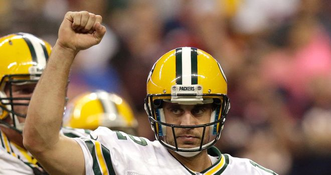 Aaron Rodgers: threw six touchdown passes during Green Bay's win over Houston