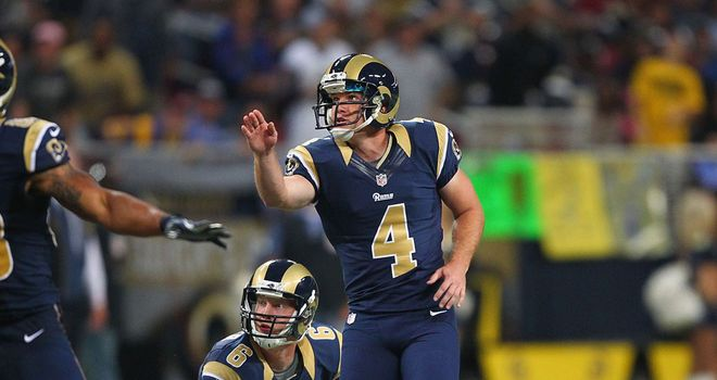 Greg Zuerlein: Star of the show for the Rams on Sunday with four fields goals against Seattle