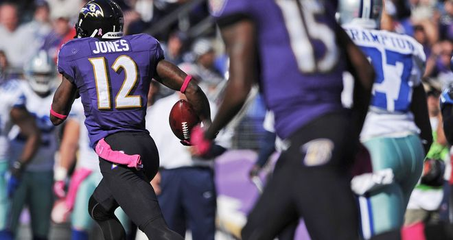 Jacoby Jones (12) takes the ball back 108 yards for a touchdown