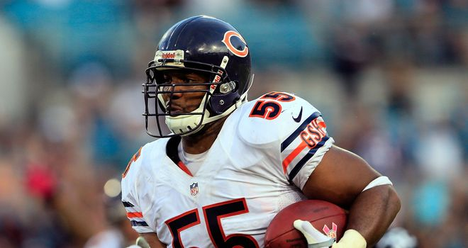 Lance Briggs: Claimed one of Chicago's two interception returns for touchdowns