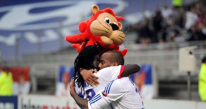 Bafetimbi Gomis celebrates his goal for Lyon