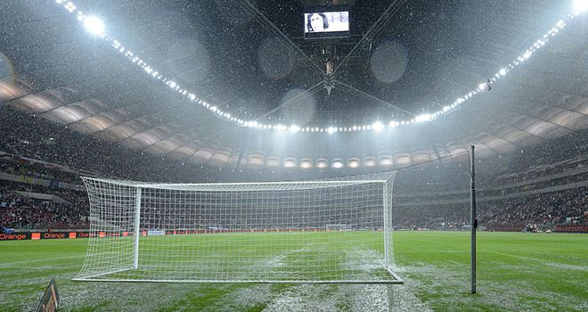 Warsaw washout: England's World Cup qualifier with Poland postponed, with the match now scheduled for Wednesday