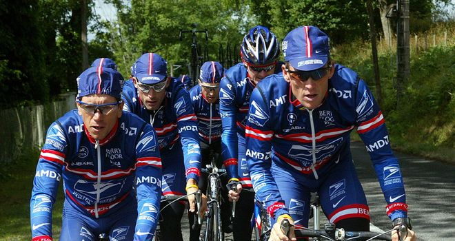 The US Postal Service team led by Lance Armstrong