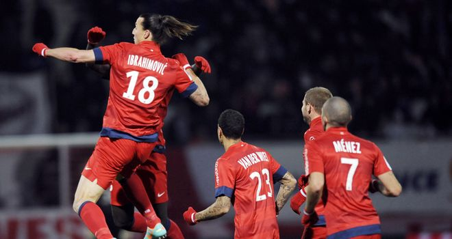 Jumping for joy: Zlatan Ibrahimovic gets the winner