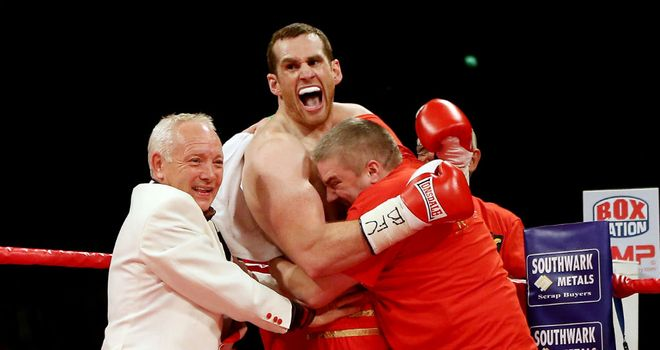 Frank Maloney celebrates David Price's victory over Audley Harrison