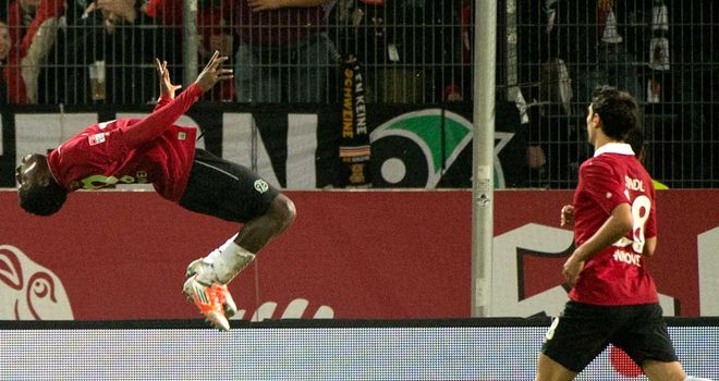 Mame Diouf: Celebrates late equaliser for Hannover